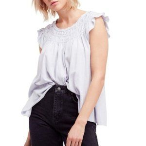 Free People Coconut Lavender Ruffled Top